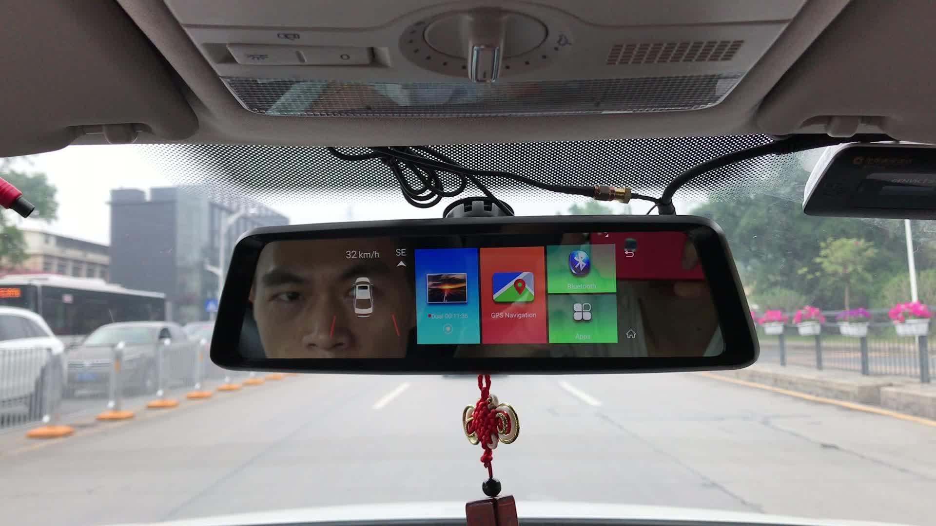 Wosx 4G Được Xây Dựng Trong Máy Ảnh Kép 7 Inch Phía Sau Xem Gương DVR Về Phía Trước + Vào Bên Trong + Xếp Dash Cam Navigation ADAS Thương Dual Camera Xe DVR