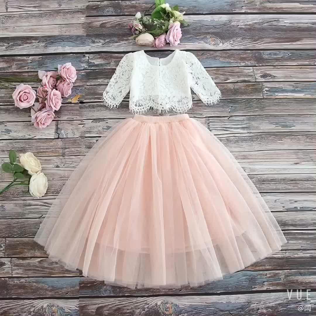 子供子供リトル子供シャツレースのチュチュスカート 2 個クリスマス衣装パーティープリンセスドレスガール服セット