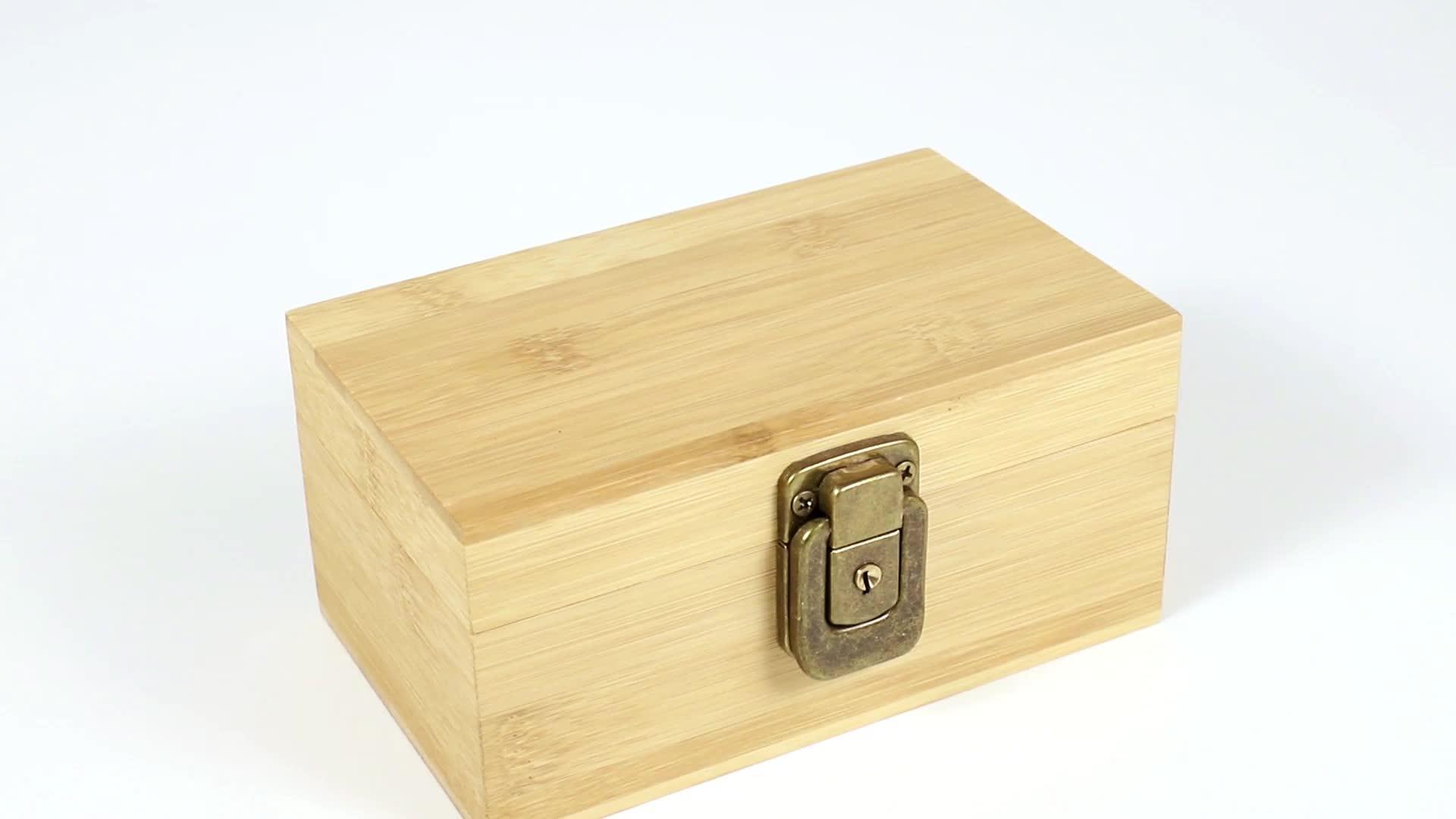 Özel küçük basit boş bambu hediye ambalaj kutusu rustik ahşap kutu