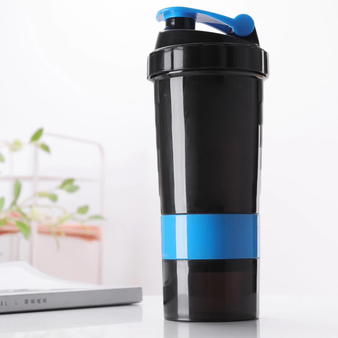 Custom Logo BPA Free 20 Oz Plastic Protein Shaker Bottle with mixing ball and Colorful Lid