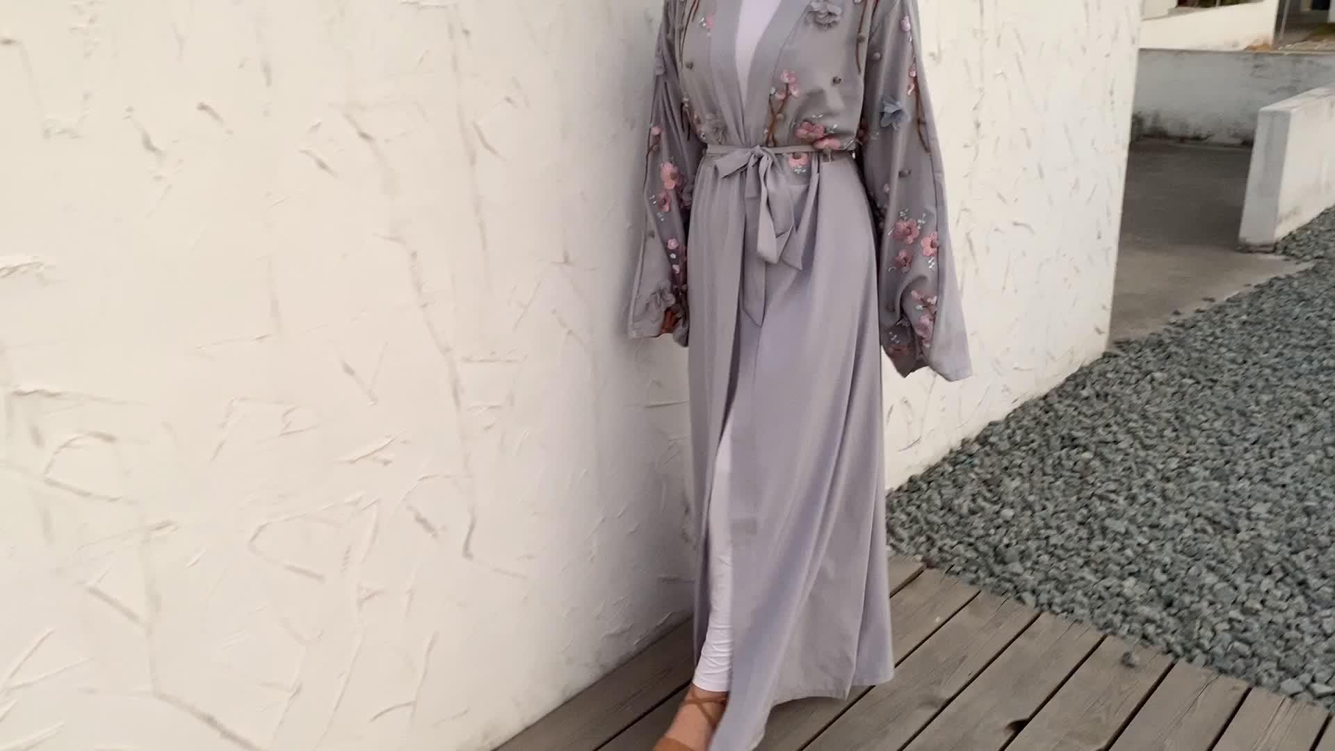 1632 # Thiết Kế Mới Nhất Hoa 3D Mở Áo Cardigan Hoa Kimono Kaftan Hijab Mẫu Mới Abaya Tại Dubai