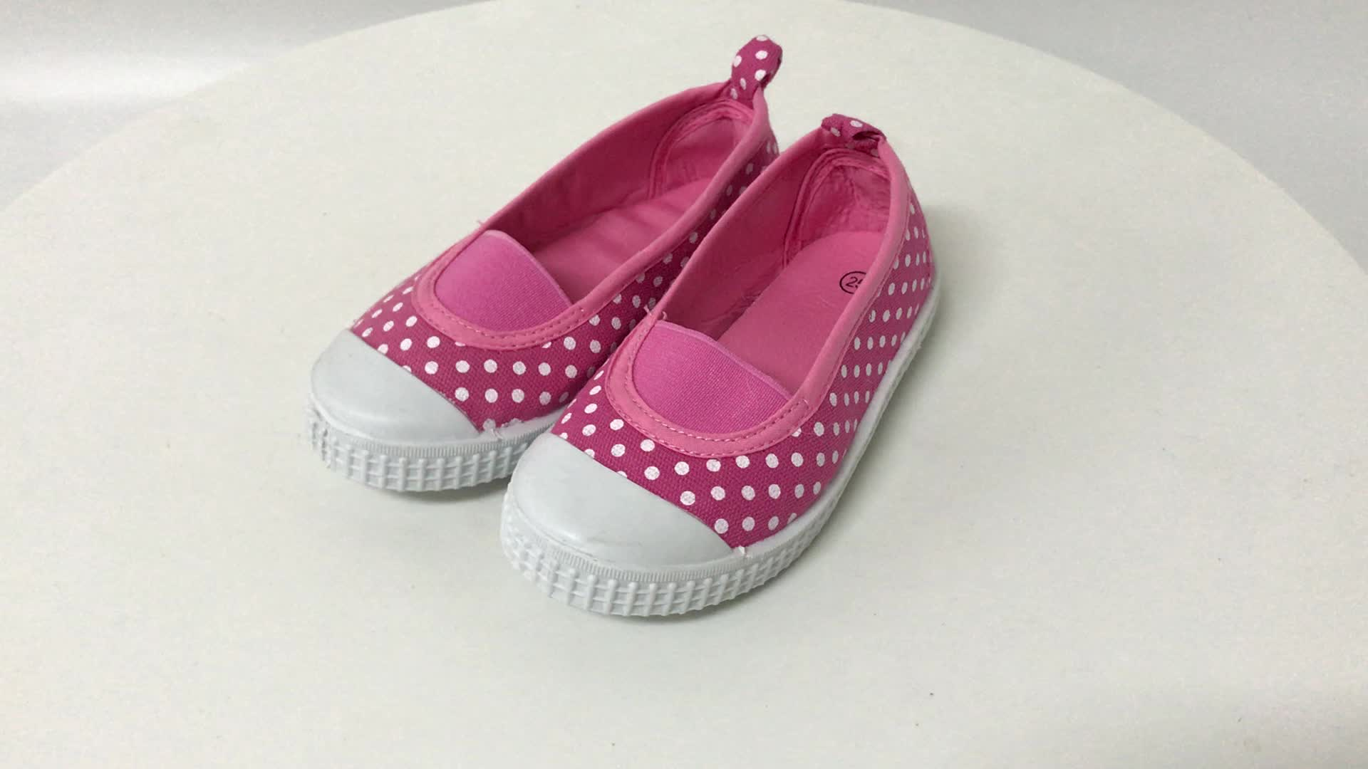 pink elastic girls canvas flat white dots print slip on PVC casual shoes