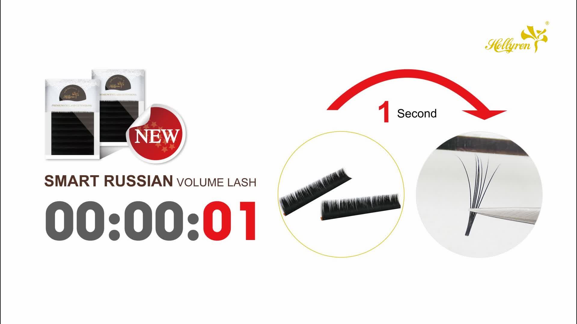 Hollyren Auto Easy Fan Smart Eyelash Extensions Volume New Wholesale Eyelash Private Label 3D