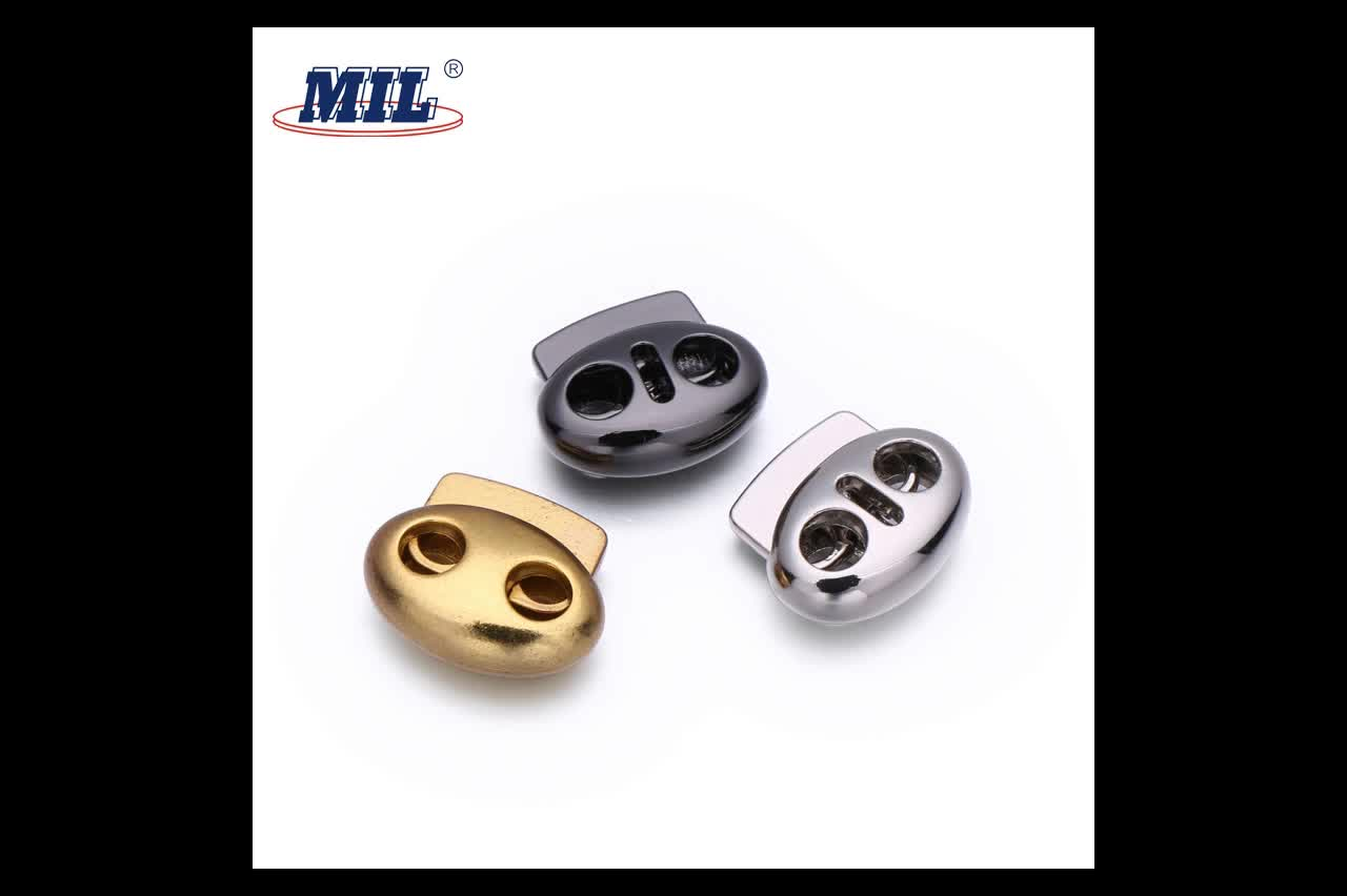 Custom New design 2 Hole Metal Toggle Cord Lock Stopper For Coat