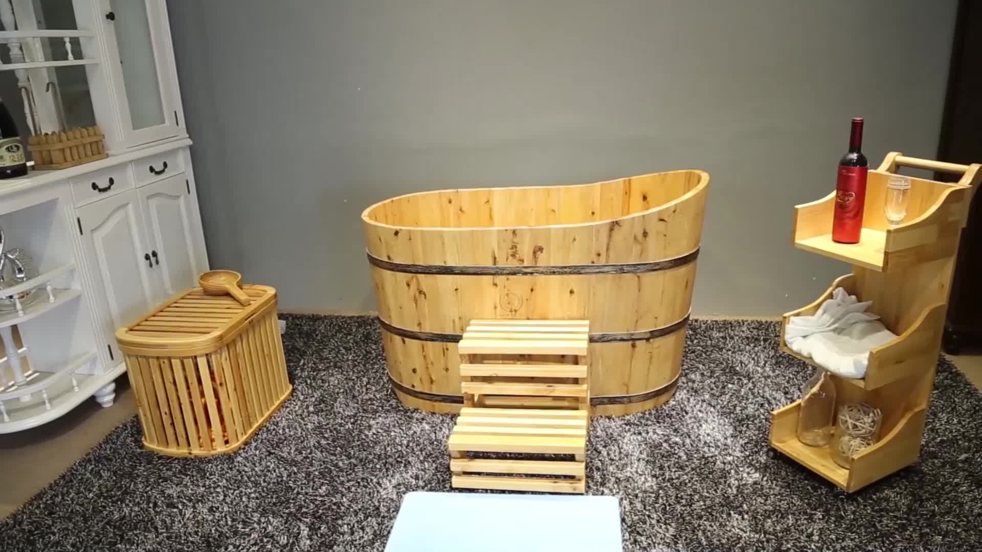 Wooden barrel 1 Person Hot Sauna Massager Tub Japanese Portable Cedar Wooden bathtub