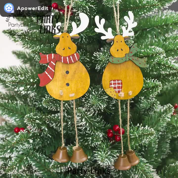 Yiwu Wooden Reindeer Cutout Veneers Slices For Christmas Tree Diy Crafting Decoration Embellishment Hanging Ornaments Wood Tag