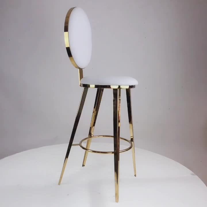 Wholesale modern stainless steel round the back bar chair