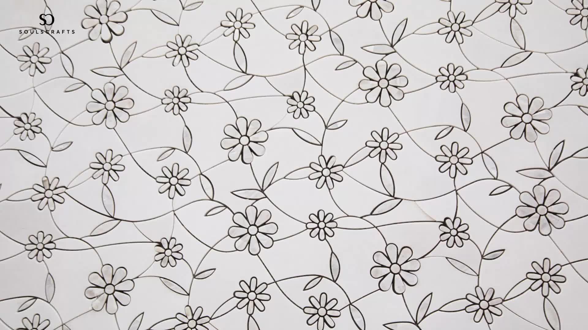 Marmor Mixed Shell Wasserstrahl Mosaik Fliesen Thassos Weiß Mit Mutter von Perle Mosaik
