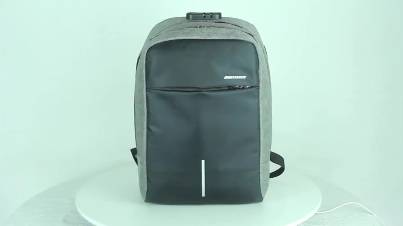 New Hotselling Style Metal Handle Business Lightweight Nylon Anti Theft Laptop Backpack Bag With USB Charger