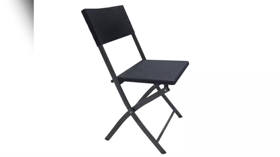 Black Plastic Outdoor Folding Chair Wholesale Patio Garden Foldable Chair with Rattan Design