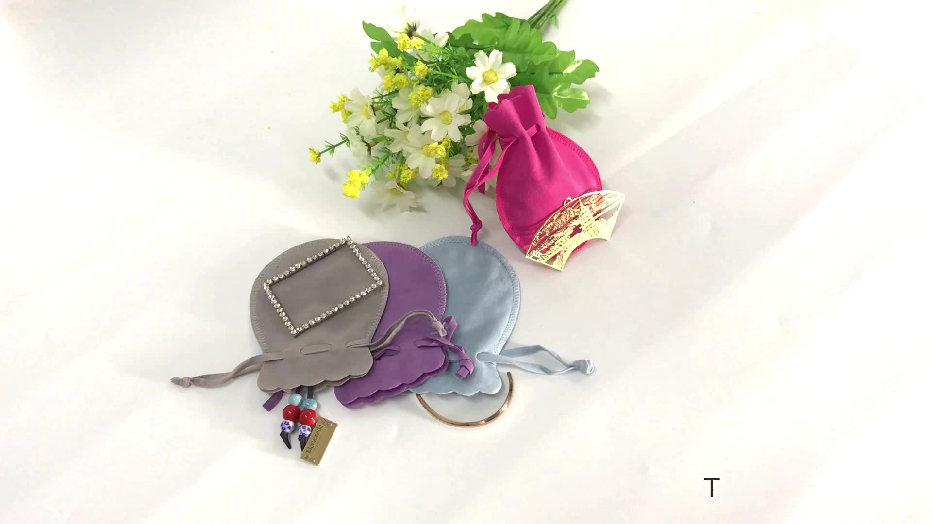 Promotional Pink Jewelry Packaging Pouch Bag, Customized Pink Velvet Drawstring Gift Bags