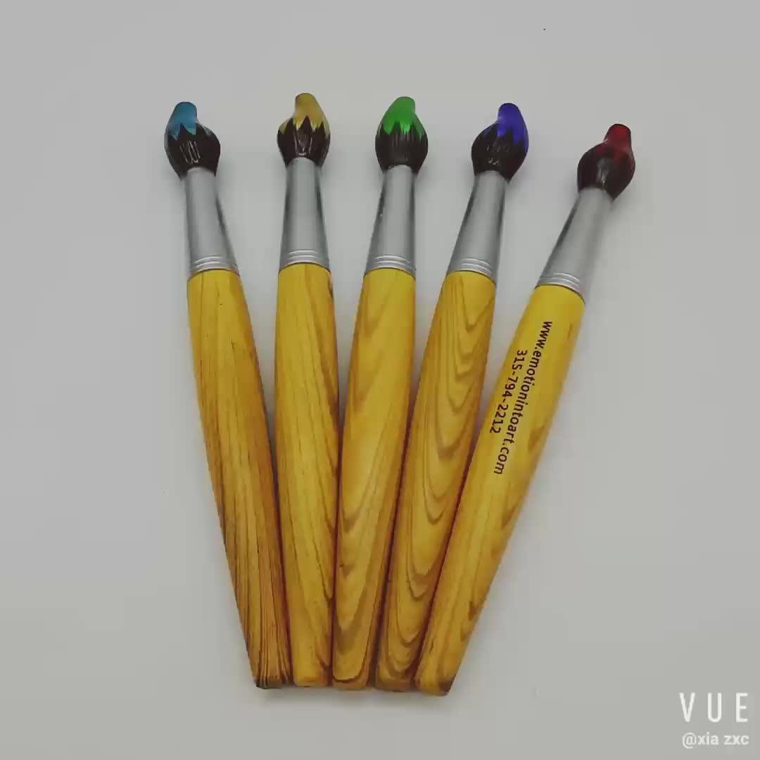 नवीनता के लिए पर्यावरण के अनुकूल पेंटिंग ब्रश के आकार का लकड़ी की कलम बच्चे उपहार