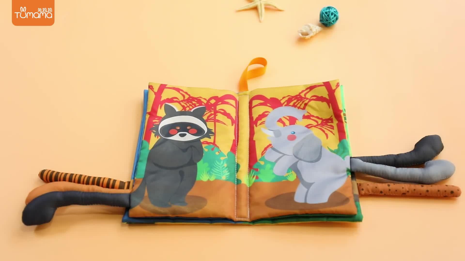 Educational  kids lamaze children jollybaby fabric soft baby cloth tail  book set