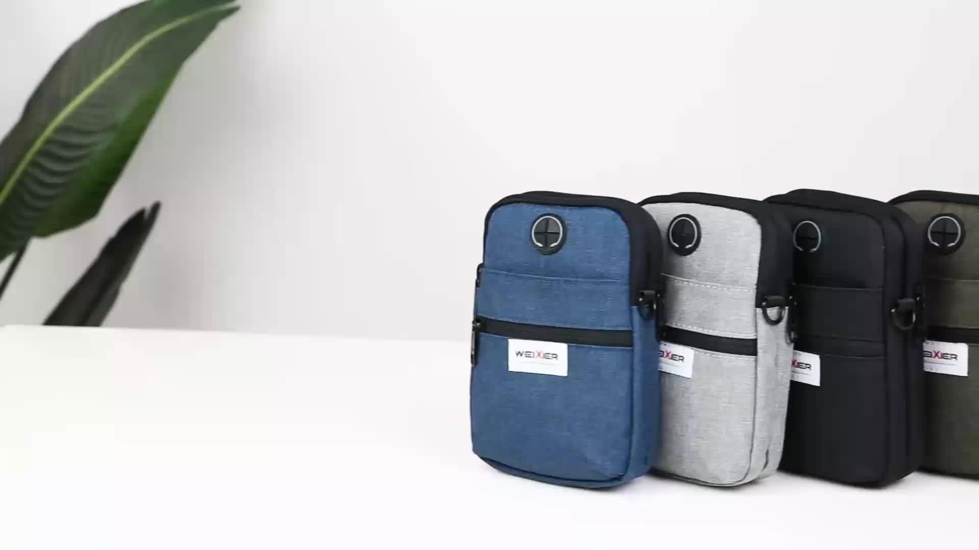 Men outdoor waist mobile phone bags casual multifunction zipper canvas shoulder mini small crossbody bag