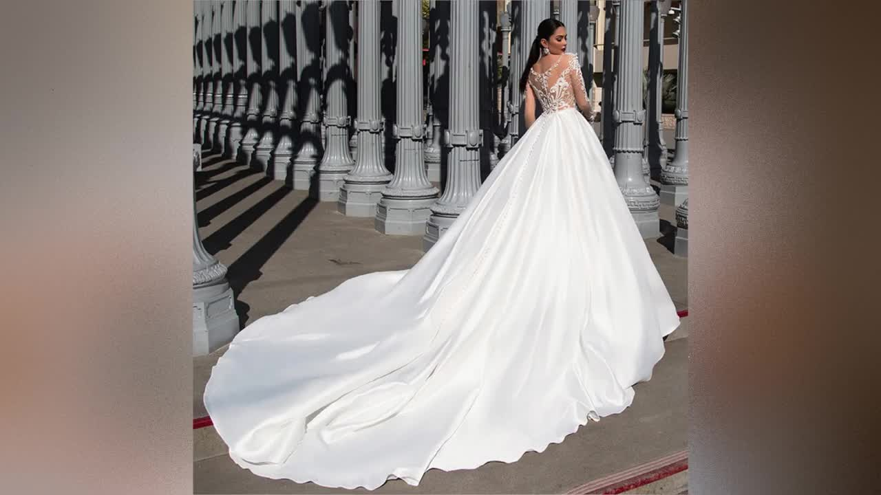 Long Sleeve Wedding Dresses 2019 Ball Gown Bridal Gowns Africa Wedding Gown Muslim Bridal Dresses Lace Bridal Wedding Dress A268