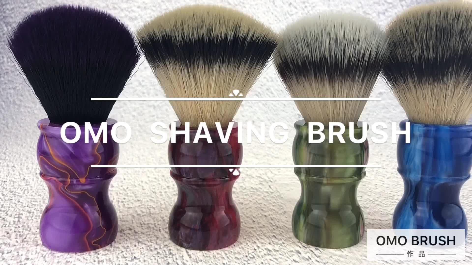 OUMO- ราคาโรงงานผมสังเคราะห์ 3 สีเรซิ่นจับแปรงโกนหนวดด้วยการออกแบบที่สวยงามขายส่ง