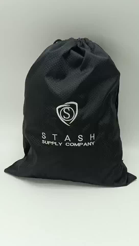 Black Custom Logo Printing Nylon Drawstring Gym Bag Drawstring Backpack Reusable Promotional Bags With Cheap Price