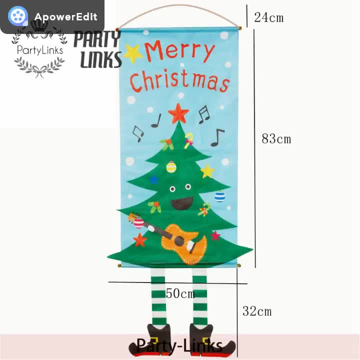 Polyester Merry Christmas Garden Flags House Party Hanging Bunting Mini Yard Banner For Shopping Mall