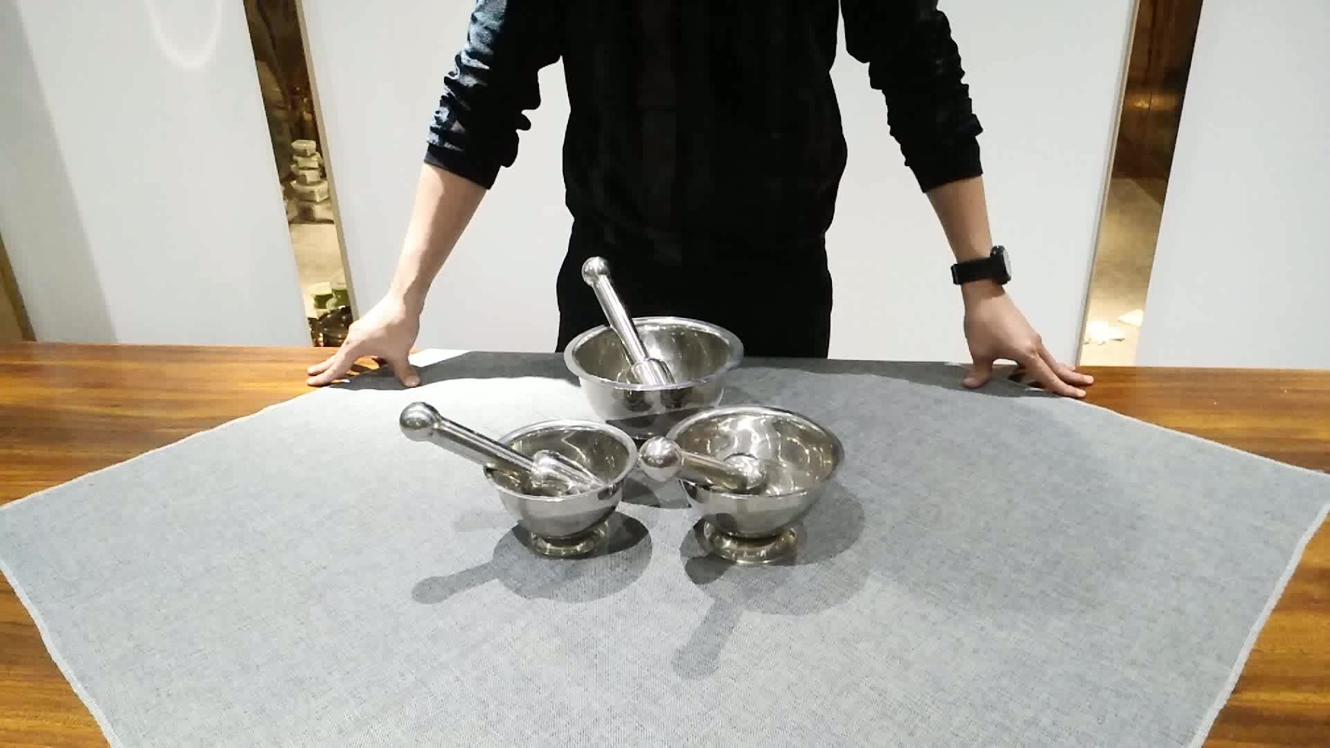 Groothandel dubbelwandige rvs knoflookpers molen kom spice grinder geneeskunde beukende kom