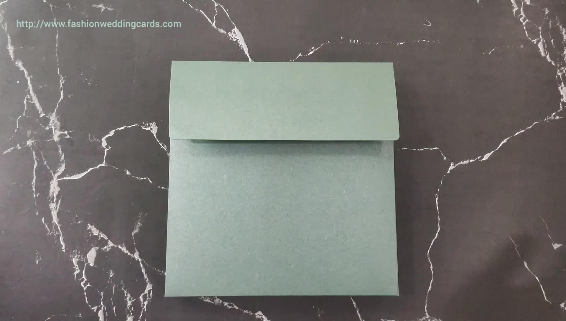 Gorgeous Foiling Acrylic wedding Invitation Card Luxury Green Foiling Wedding Invitation Box with Envelope