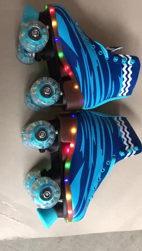 soy luna patines de cuatro 4 ruedas quad roller skate shoe with LED light music