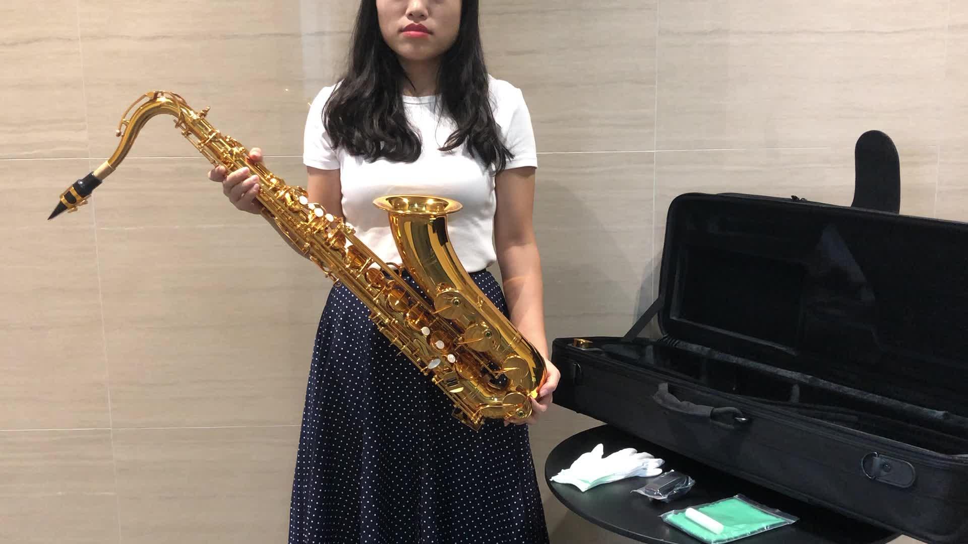 OEM Venda Quente de Boa Qualidade Profissional Sax Almofadas de Molas de Importação Amarelo Corpo em Latão Lacado de Ouro Bb Chave Saxofone Tenor