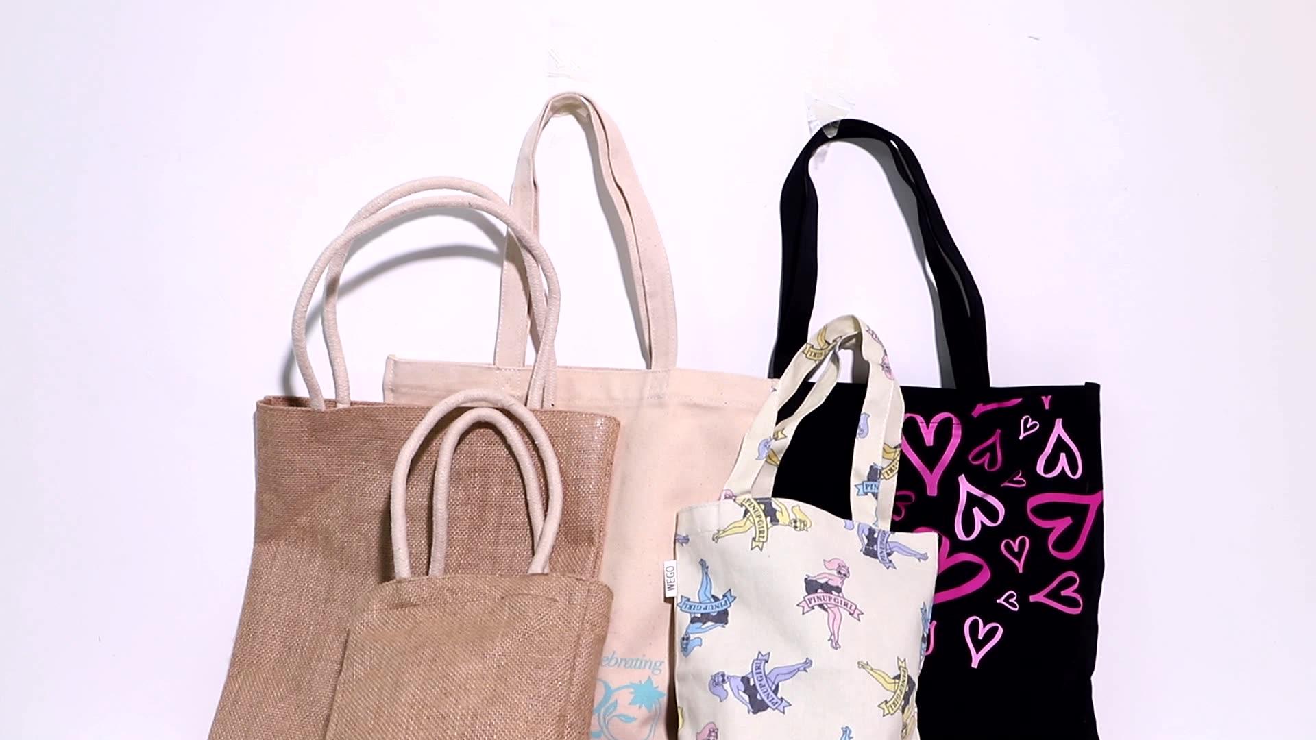 Custom  jute shopping bag printed logo blank linen hemp tote bag