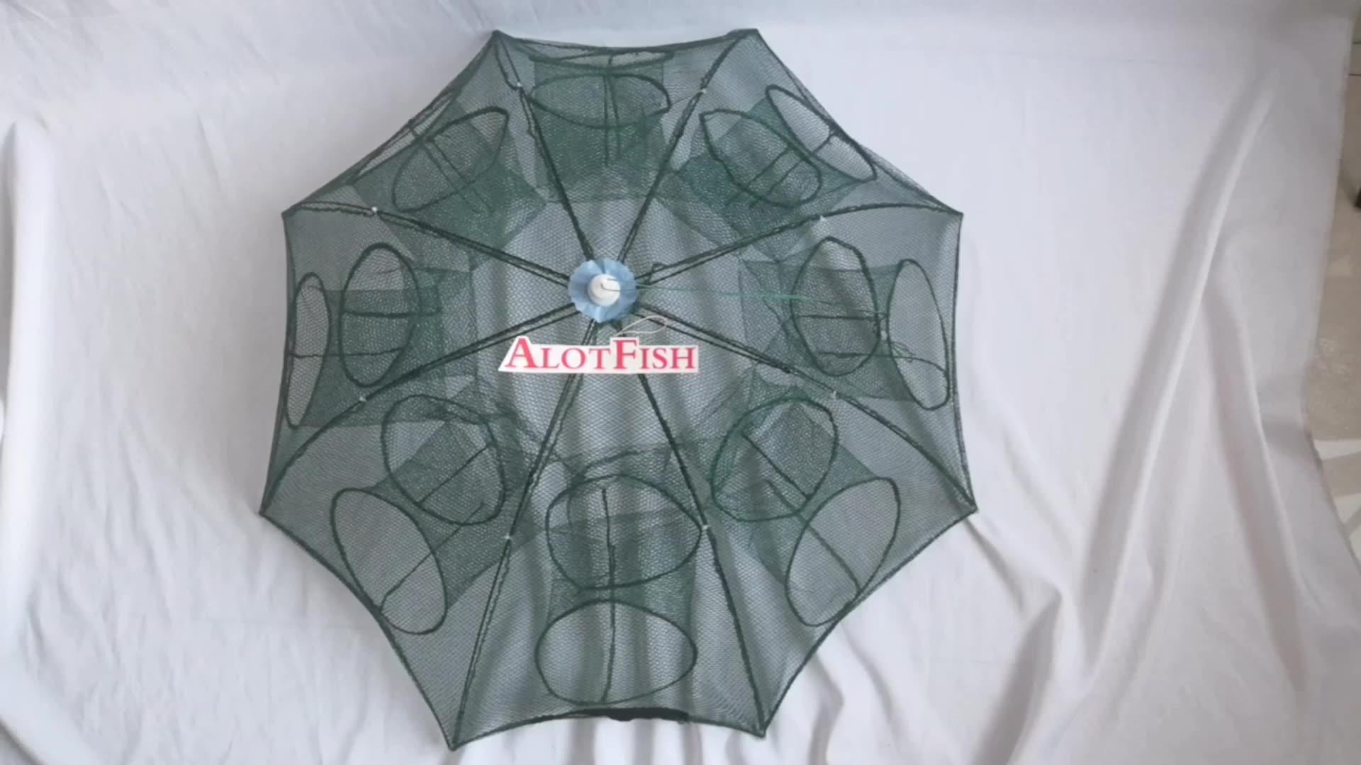 傘折り畳まポータブル六角 6 穴自動釣りエビトラップ漁網魚エビミノーカニ餌キャストメッシュトラップ