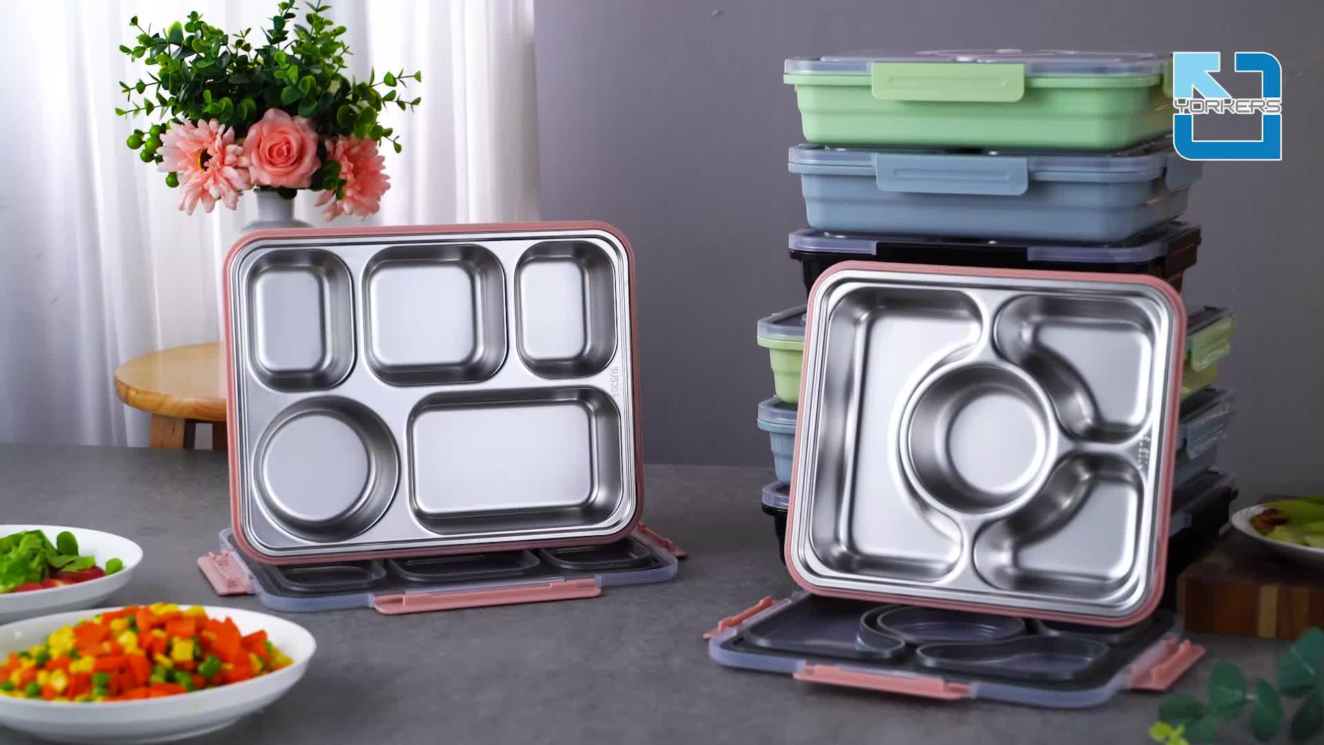 पर्यावरण के अनुकूल Leakproof भोजन प्रस्तुत करने का धातु टिफिन Bento स्टेनलेस स्टील 5 डिब्बे दोपहर के भोजन के बॉक्स