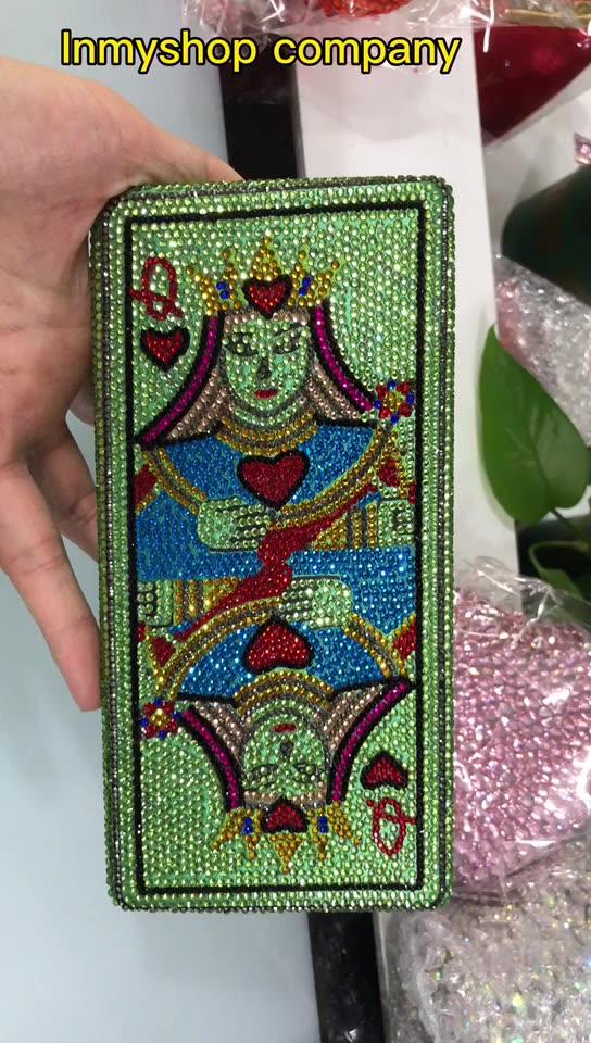 Tas Tangan Poker Gaya Spesial Afrika Tas Malam Kristal Berlian Imitasi Mode Baru 2020 untuk Pernikahan