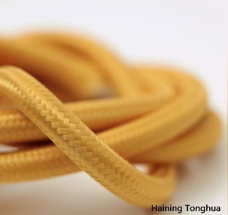 Wholesale Listrik Kawat 2*0.75 Hitam Dekoratif Tekstil Kabel untuk Lampu