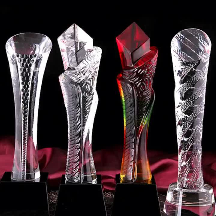 Red orange gold transparent golf foot soccer sports torch crystal glass award trophies blanks custom