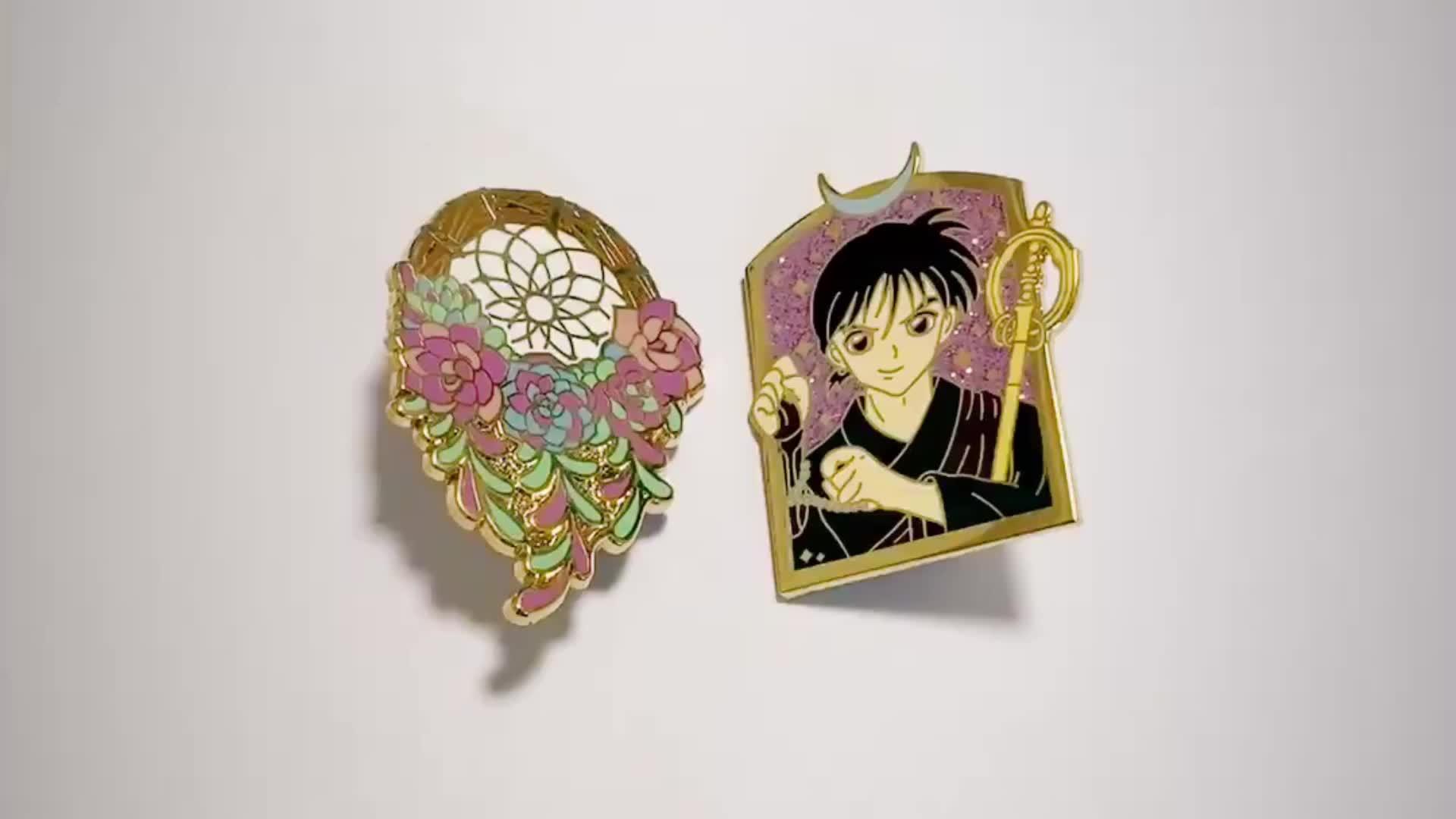 Wholesale metal badge custom hard enamel flower lapel pin