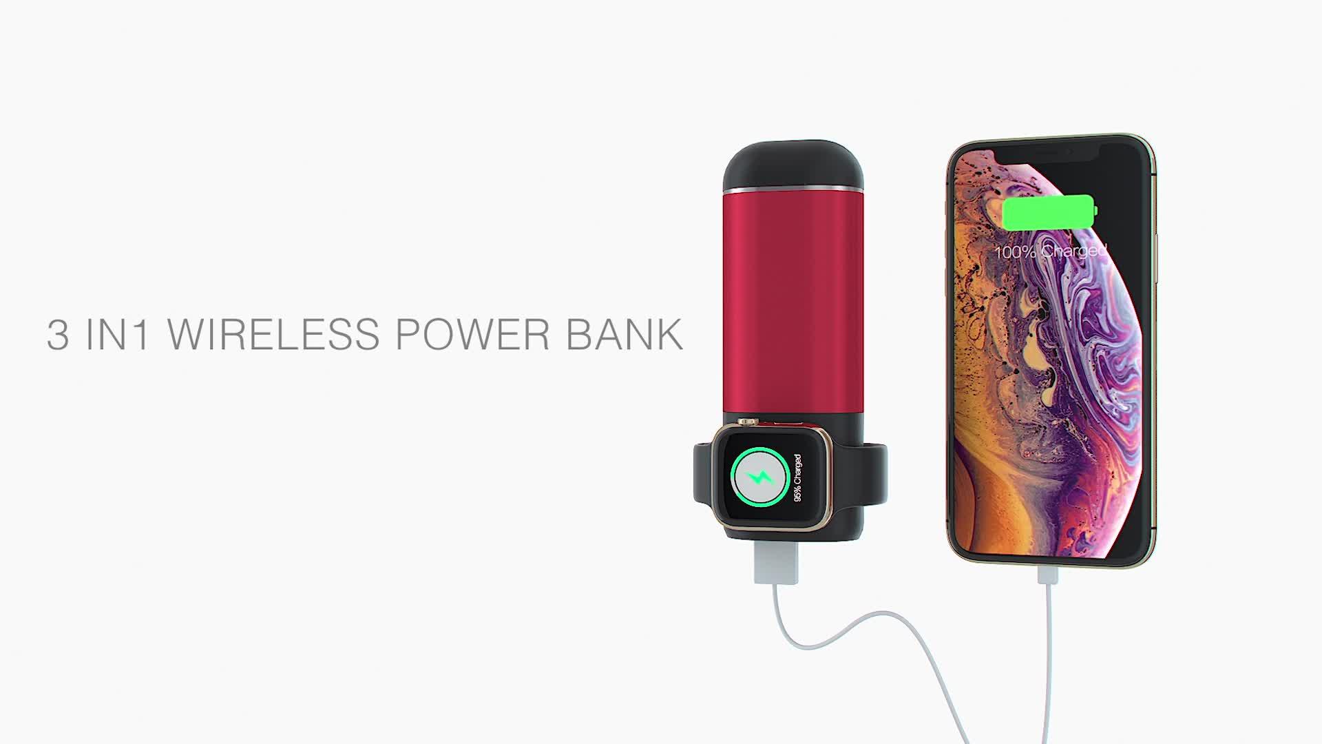Elettronica di consumo 3 in 1 Senza Fili del Caricatore Powerbank 5200mAh Banca Portatile di Potere con il Wireless di Ricarica