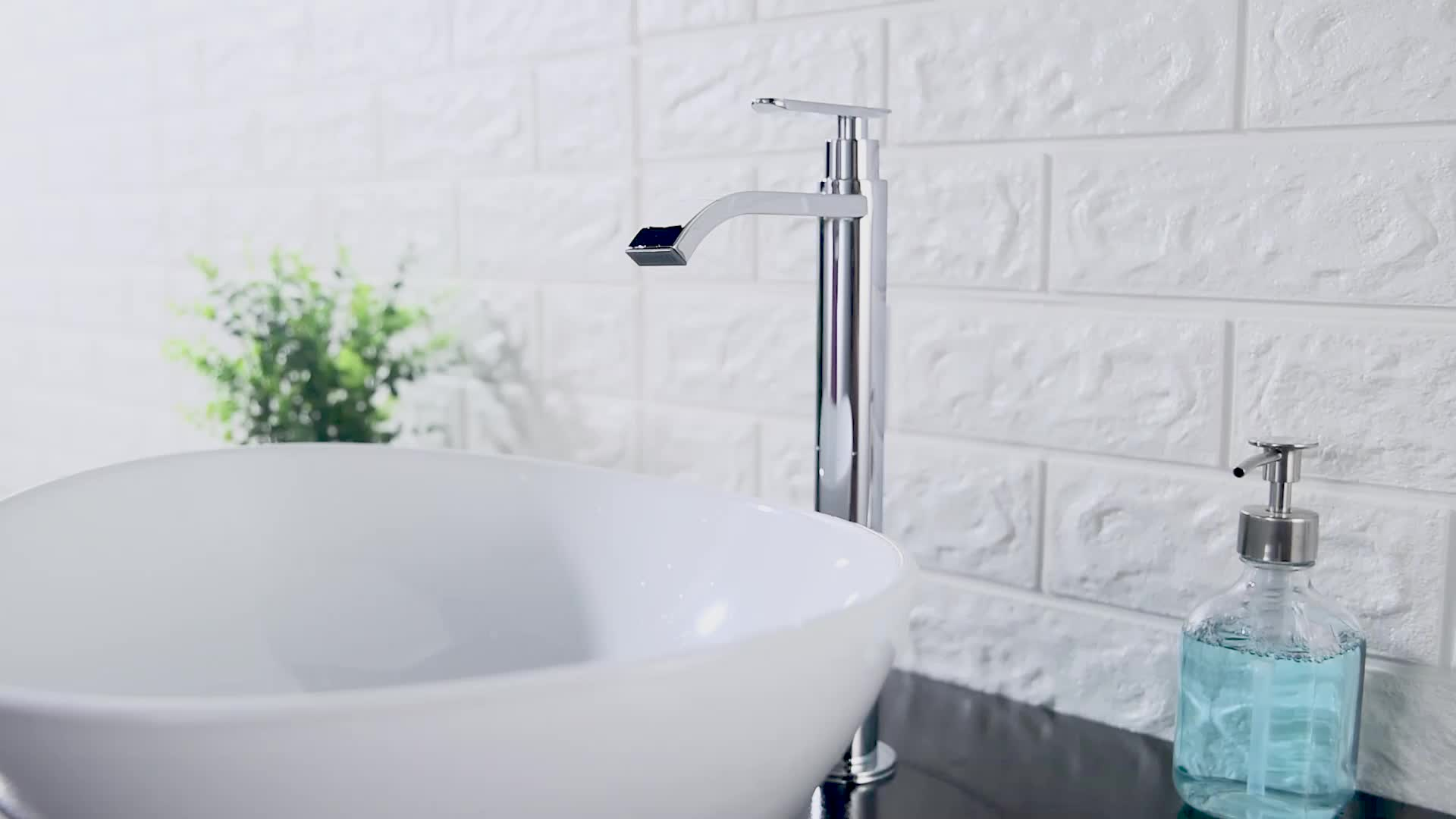 Stainless steel brush nickel basin faucet curved body 304 cold water bathroom sanitary basin tap faucet