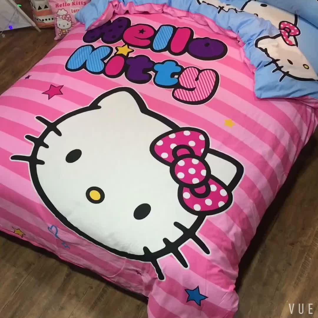 Nhà máy Mùa 4 Miếng Comforter Phim Hoạt Hình Mèo In Tấm Ga Trải Giường Tùy Chỉnh 100% Bông Cô Gái Trẻ Em Bộ Đồ Giường Bộ