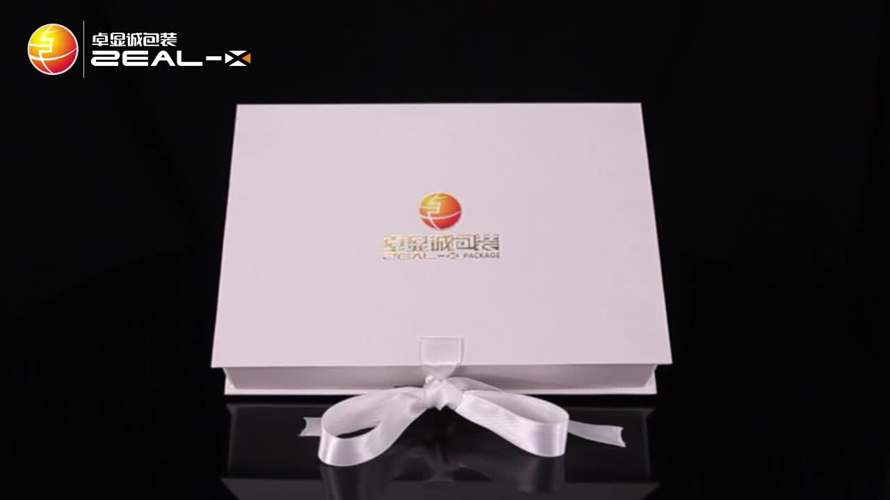 Matte white paper cardboard folding box custom gift packaging box with ribbon and logo
