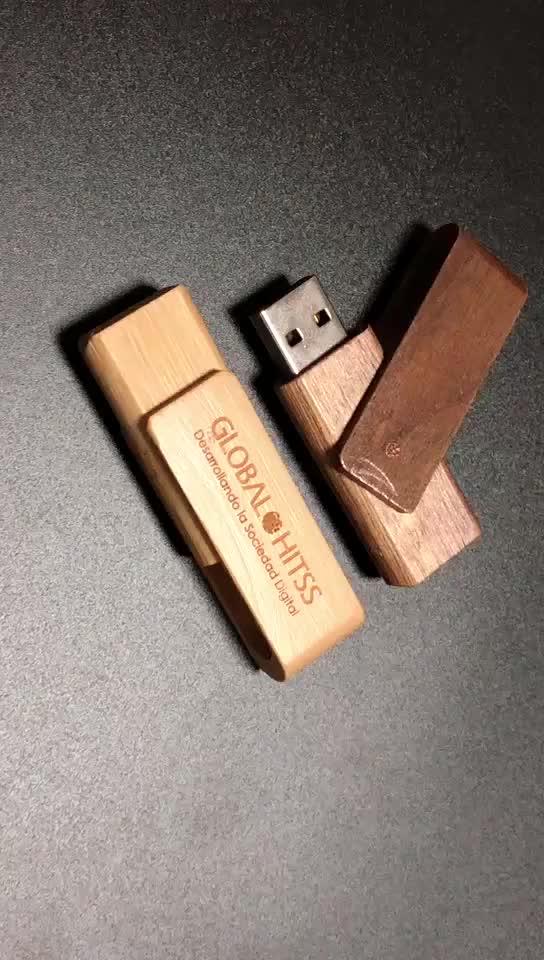 थोक लोकप्रिय लोगो कुंडा लकड़ी यूएसबी फ्लैश ड्राइव 64 GB 128 GB