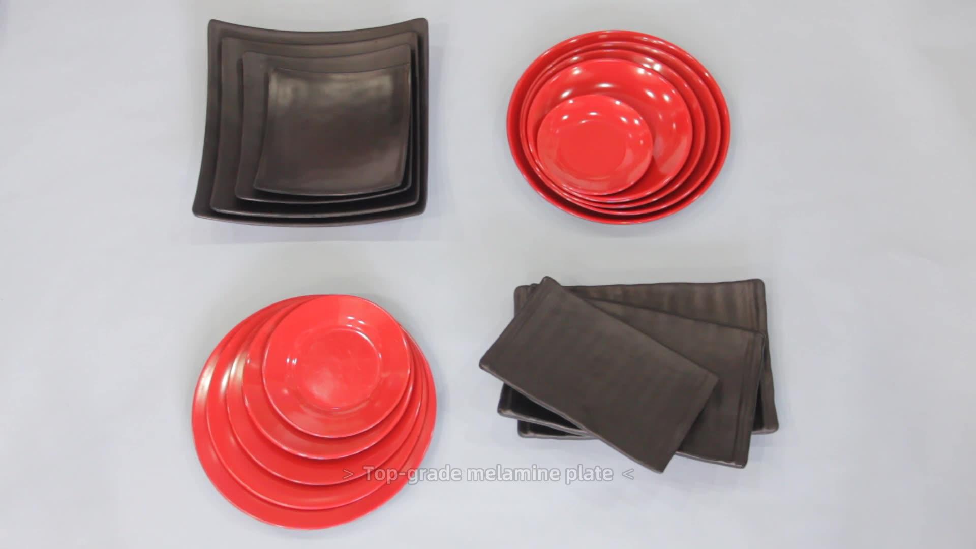 Wholesale cheap price  custom printed black plastic food serving melamine rectangle  tray