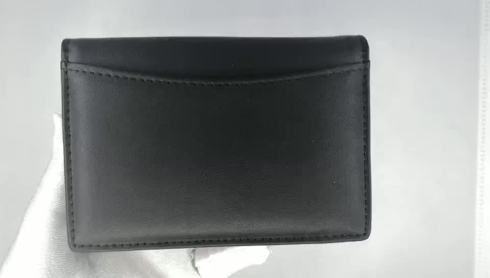 Bi-fold PU leather name card holder big volume credit card holder card bag custom