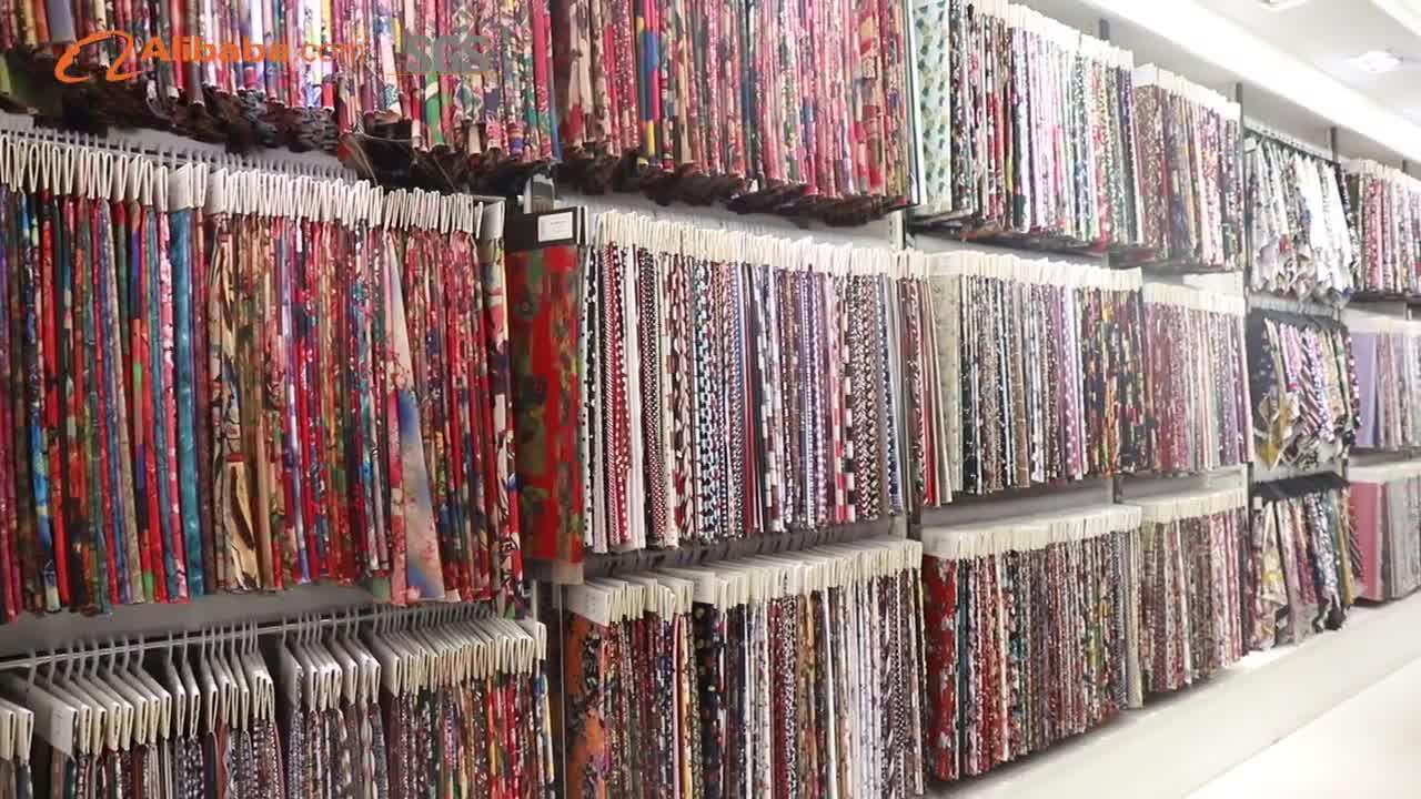 women fashion dress african 100% polyester printed silk print stretch fabric