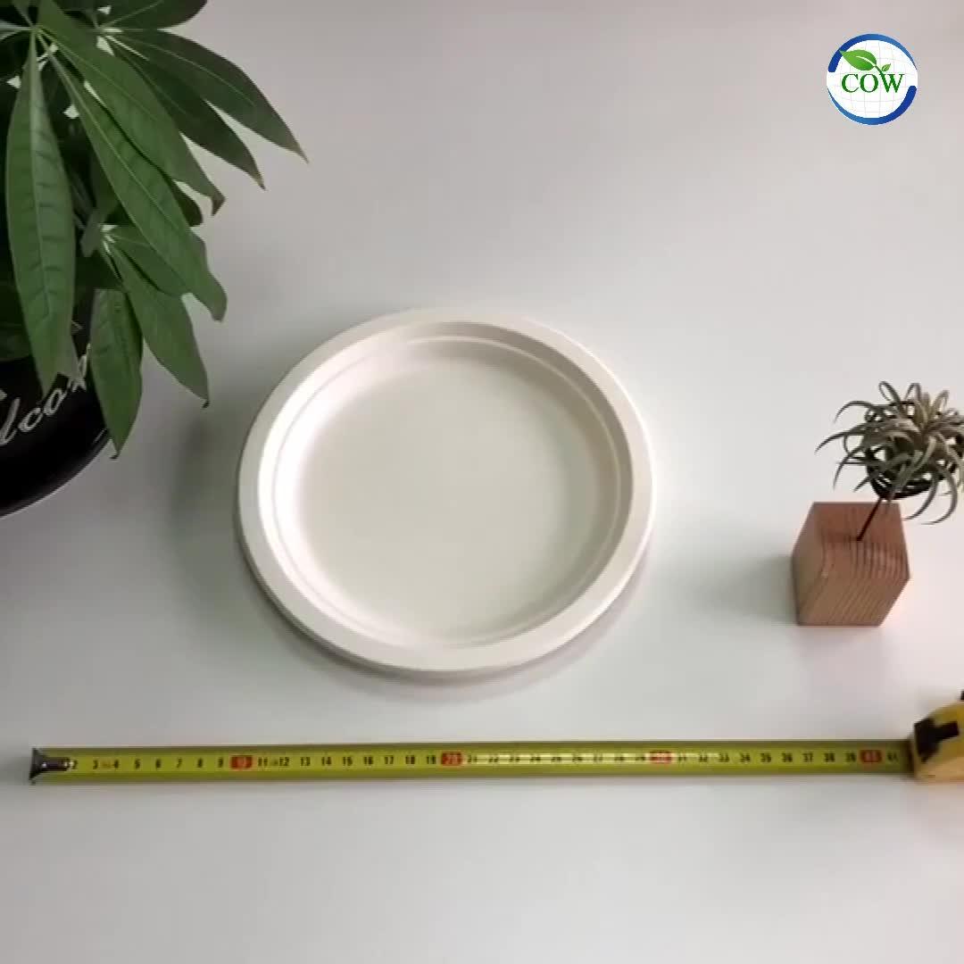 9 pulgadas ronda vajilla desechable bagazo de caña de papel de pulpa de parte de compostables 100% placas biodegradables