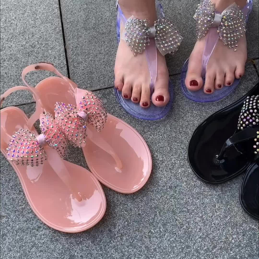 New Fashion Flat Jelly Fabric Bow Accessories Ladies Shoes And Sandals