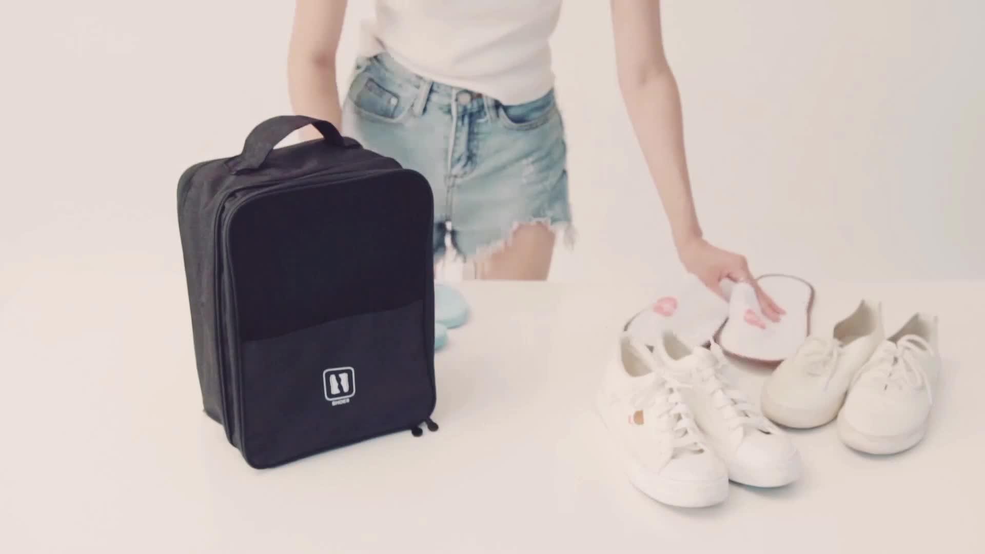Üretici taşınabilir kılıf seyahat ayakkabı çantası su geçirmez bölme fermuar spor spor futbol ayakkabı taşıma çantası