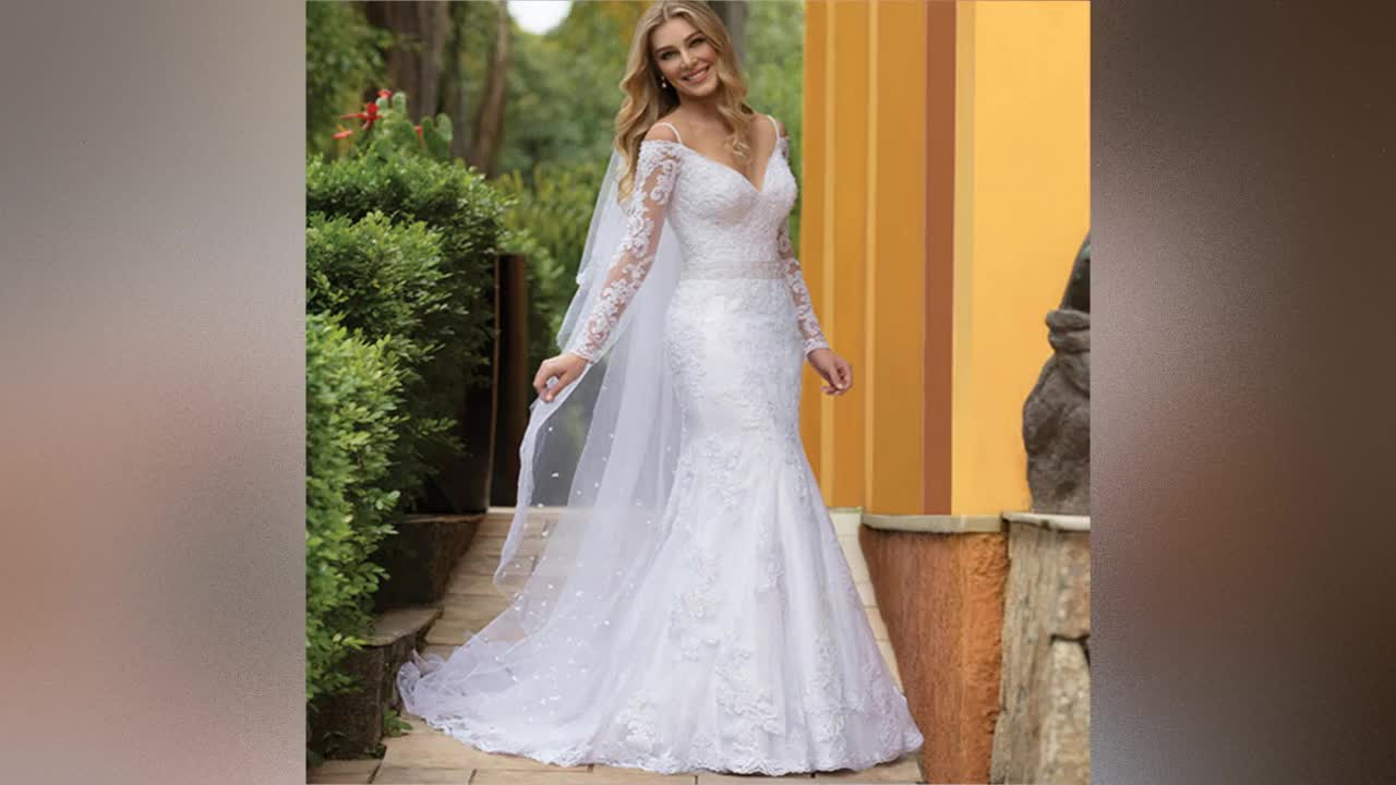 Long Sleeve Wedding Gown with Fishtail 2019 Africa Wedding Dress Mermaid Bridal Gown White Lace Wedding Dress Bridal Gown A260