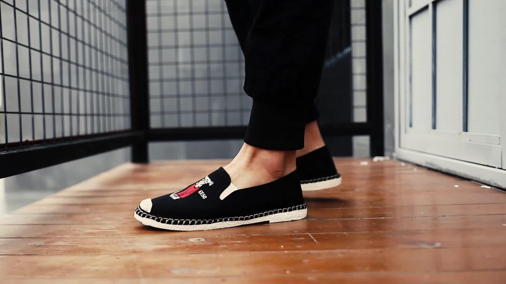 नई स्टाइलिश पुरुषों के फैशन आकस्मिक कपड़े जूते कैनवास फ्लैट पर्ची पर आवारा Espadrille अवकाश चलने स्नीकर्स मोकासिन नाव जूते