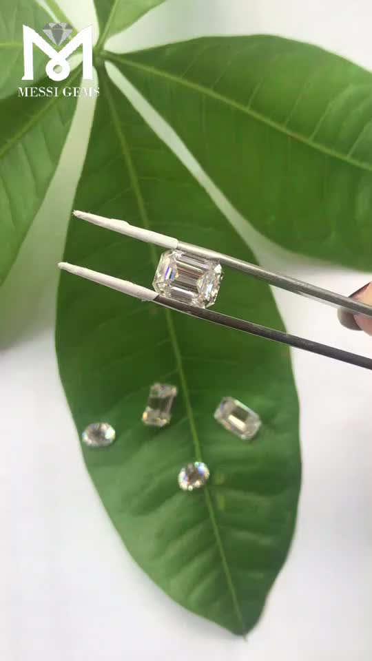 China synthetic 8x6mm emerald cut  2 carat moissanite stones price moissanite rough