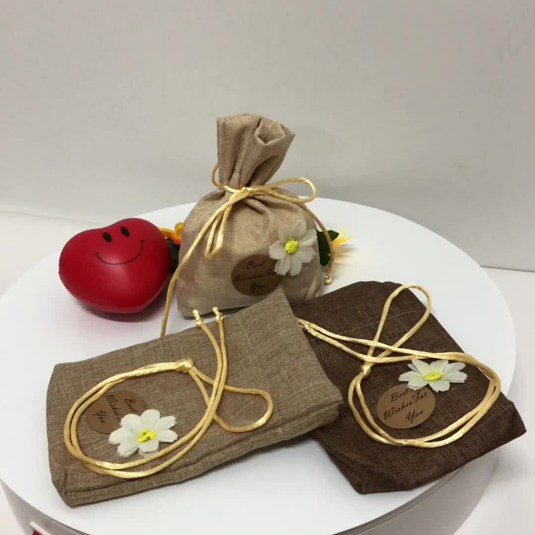 New Arrival Luxury Gift Party Favor Flower Pouch Wholesale Small Drawstring Scent Jute Sachet Bag