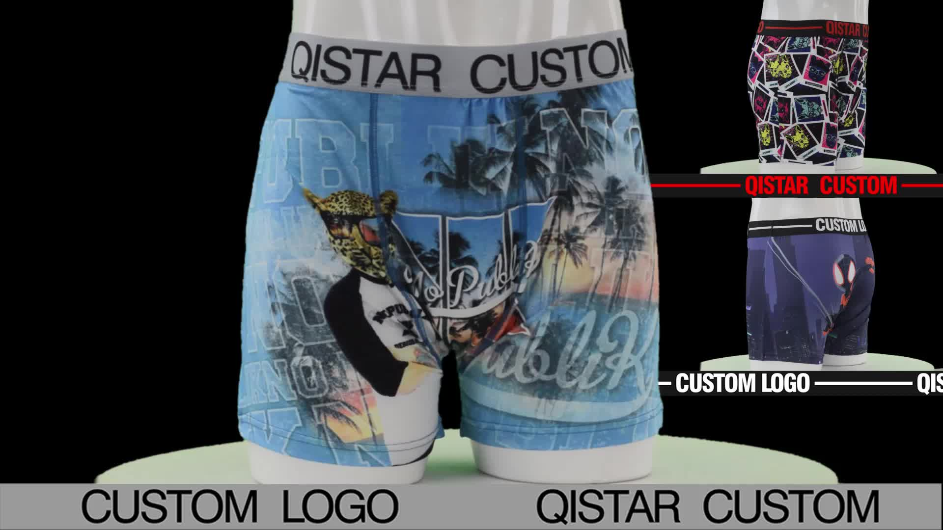 Polyester Spandex Sublimation Colorful Print Men Boxer Underwear