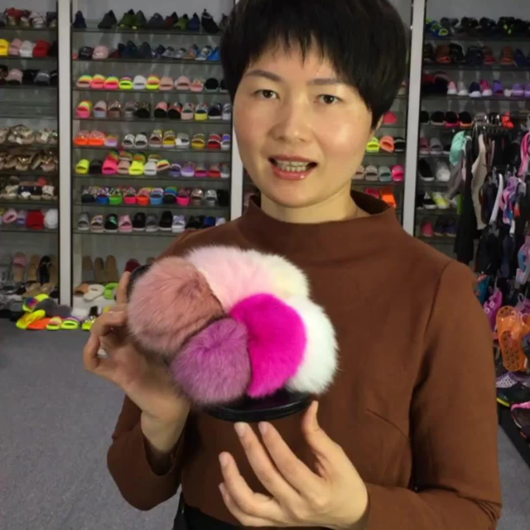 Luxury Style 6 Fur Balls Sandals Shoes Women Fur Flat Slides Fox Fur Slipper